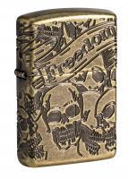 Зажигалка Zippo Armor™ Freedom Skull Antique Brass™  49035