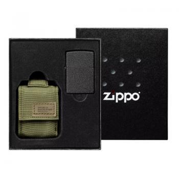 Подарочный набор зажигалка Zippo Black Crackle® и зелёный нейлоновый чехол 49400