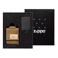 Подарочный набор зажигалка Zippo Black Crackle® и коричневый нейлоновый чехол 49401